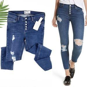 NWT Free People Raw Hem Button Fly Jeans SZ 27